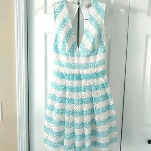 NWT ASOS aqua and white lace skater dress Size00